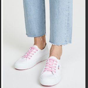 Superga cotu classic white sneaker w/ pink detail